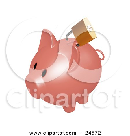 Gold Lock On The Slot Of A Dark Pink Piggy Bank Posters, Art Prints
