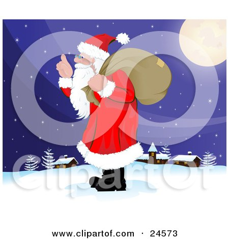 Clipart Illustration of Santa Claus With A Long White Beard, Carrying A Sack Over His Shoulder And Walking In The Snow Near A Quiet Village On Christmas Eve by Paulo Resende