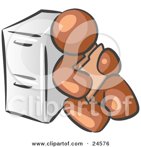 Clipart Illustration of a Brown Man Sitting By A Filing Cabinet And Holding A Folder by Leo Blanchette