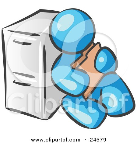 Clipart Illustration of a Light Blue Man Sitting By A Filing Cabinet And Holding A Folder by Leo Blanchette