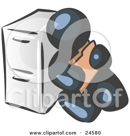 Clipart Illustration of a Navy Blue Man Sitting By A Filing Cabinet And Holding A Folder by Leo Blanchette