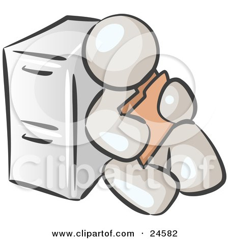 Clipart Illustration of a White Man Sitting By A Filing Cabinet And Holding A Folder by Leo Blanchette