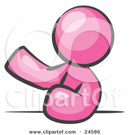 Clipart Illustration of a Pink Man Leaning An Elbow On A Table And Gesturing With One Hand During A Meeting by Leo Blanchette
