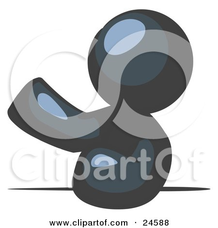Clipart Illustration of a Navy Blue Man Leaning An Elbow On A Table And Gesturing With One Hand During A Meeting by Leo Blanchette