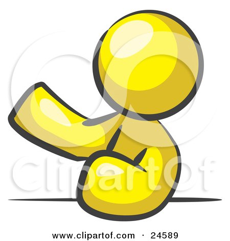 Clipart Illustration of a Yellow Man Leaning An Elbow On A Table And Gesturing With One Hand During A Meeting by Leo Blanchette