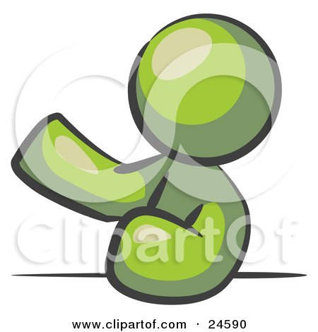 Clipart Illustration of an Olive Green Man Leaning An Elbow On A Table And Gesturing With One Hand During A Meeting by Leo Blanchette