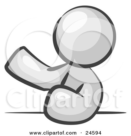 Clipart Illustration of a White Man Leaning An Elbow On A Table And Gesturing With One Hand During A Meeting by Leo Blanchette
