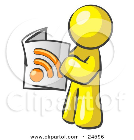 Clipart Illustration of a Yellow Man Standing And Reading An RSS Magazine by Leo Blanchette