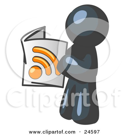 Clipart Illustration of a Navy Blue Man Standing And Reading An RSS Magazine by Leo Blanchette