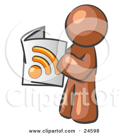 Clipart Illustration of a Brown Man Standing And Reading An RSS Magazine by Leo Blanchette