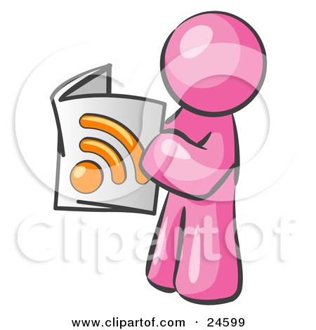 Clipart Illustration of a Pink Man Standing And Reading An RSS Magazine by Leo Blanchette