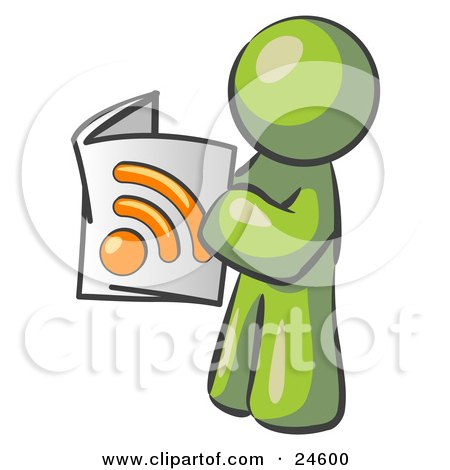 Clipart Illustration of an Olive Green Man Standing And Reading An RSS Magazine by Leo Blanchette