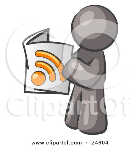 Clipart Illustration of a Gray Man Standing And Reading An RSS Magazine by Leo Blanchette