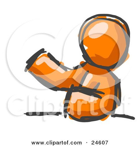 Clipart Illustration of a Painted Orange Man Leaning An Elbow On A Table And Gesturing With One Hand During A Meeting by Leo Blanchette