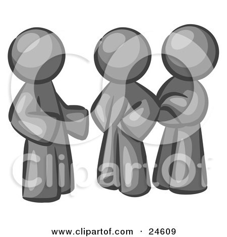 Clipart Illustration of a Group Of Three Gray Men Talking At The Office by Leo Blanchette