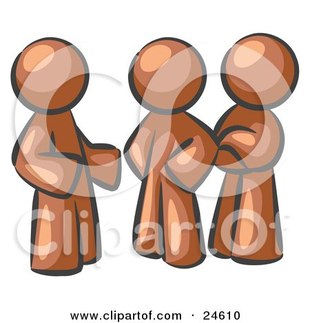 Clipart Illustration of a Group Of Three Brown Men Talking At The Office by Leo Blanchette