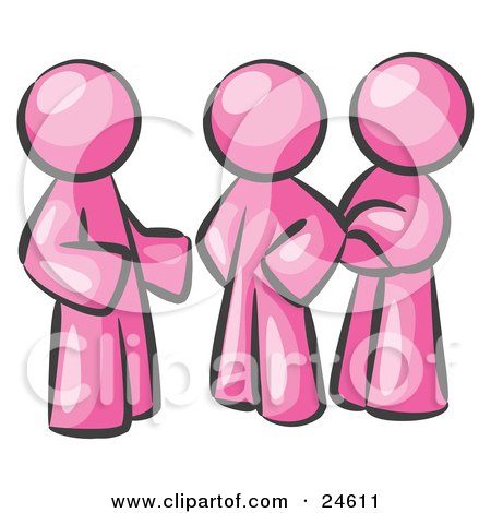 Clipart Illustration of a Group Of Three Pink Men Talking At The Office by Leo Blanchette