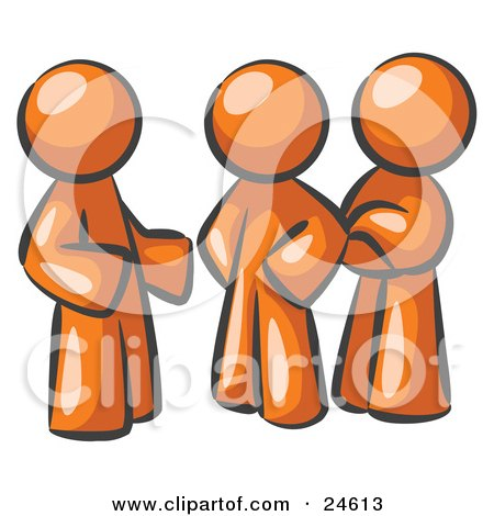 Clipart Illustration of a Group Of Three Orange Men Talking At The Office by Leo Blanchette