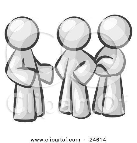 Clipart Illustration of a Group Of Three White Men Talking At The Office by Leo Blanchette