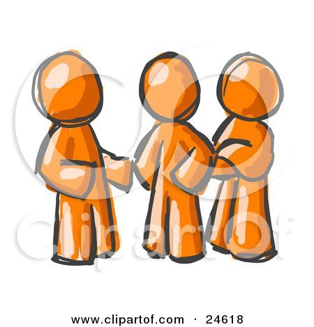 Clipart Illustration of a Group Of Three Painted Orange Men Talking At The Office by Leo Blanchette