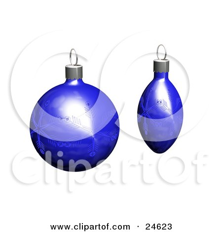 Clipart Illustration of Two Blue Christmas Tree Ornaments With Snowflake Patterns, Over White by KJ Pargeter