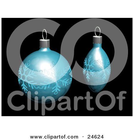 Clipart Illustration of Two Blue Christmas Tree Ornaments With Snowflake Patterns, Over Black by KJ Pargeter