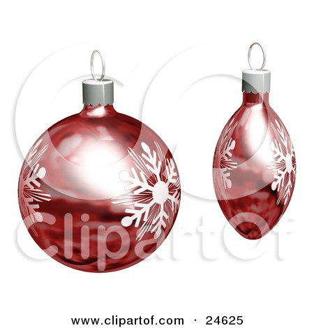 Clipart Illustration of Two Red Christmas Tree Ornaments With White Snowflake Designs, Over White by KJ Pargeter