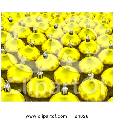 Clipart Illustration of a Background Of Reflective Yellow Glass Christmas Tree Ornaments by KJ Pargeter