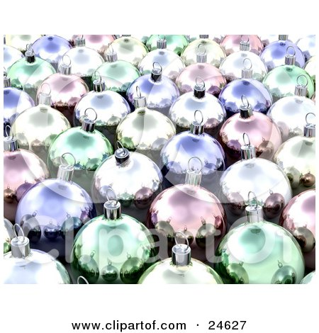 Clipart Illustration of a Background Of Reflective Shiny Christmas Ornaments In Yellow, Pink, Purple And Green by KJ Pargeter