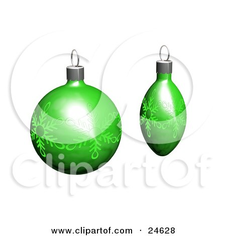 Clipart Illustration of Two Green Christmas Tree Ornaments With Snowflake Patterns, Over White by KJ Pargeter