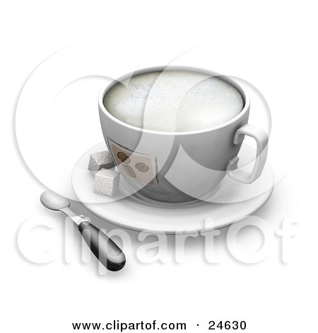 Clipart Illustration of a Frothy Cup With Coffee Bean Designs, On Top Of A White Saucer With Two Sugar Cubes And A Spoon by KJ Pargeter