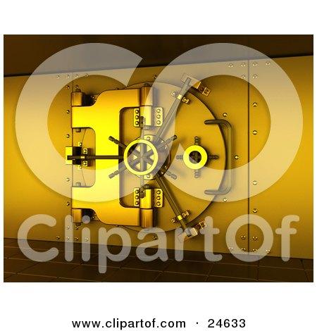 Clipart Illustration of a Secured Gold Bank Vault Locked, Cast In Gold Lighting by KJ Pargeter