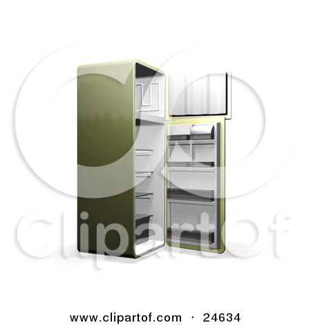 Green refrigerator with open doors showing an empty freezer and