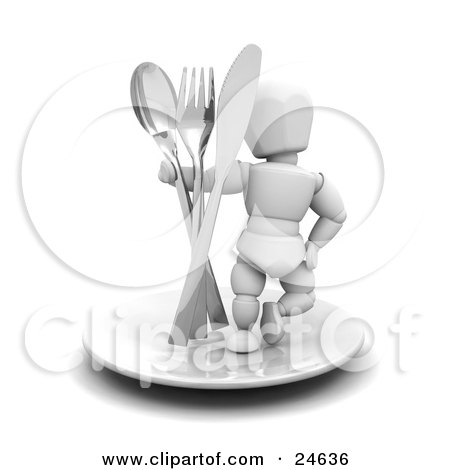 Clipart Illustration of a White Character In A Chef's Hat, Standing On Top Of A Plate With A Spoon, Fork And Butter Knife, One Hand On His Hip by KJ Pargeter