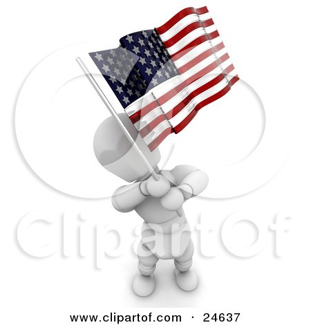Clipart Illustration of a White Character Standing And Waving An American Flag On Independence Day by KJ Pargeter
