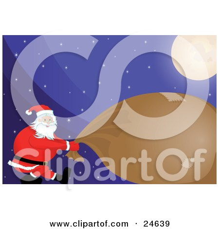 Santa Using All Of His Strength To Pull Along His Heavy Brown And Patched Up Toy Sack Under A Bright Moon On A Snowy Christmas Eve Night Posters, Art Prints