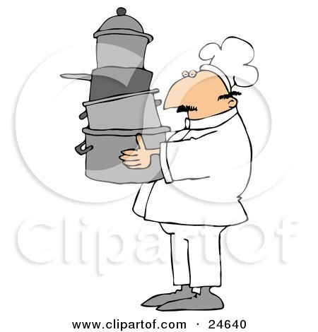 Culinary Clipart Illustration of a Male Chef In A White Hat And Uniform, Carrying A Large Stack Of Pots Through A Kitchen by djart