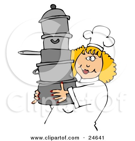 Culinary Clipart Illustration of a Happy Blond Chef Woman In A White Hat And Uniform, Carrying A Large Stack Of Pots by djart
