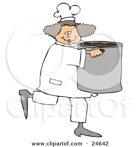 Culinary Clipart Illustration of a Happy Female Chef In A White Uniform And Hat, Prancing Across The Kitchen With A Large Pot Of Beans by djart