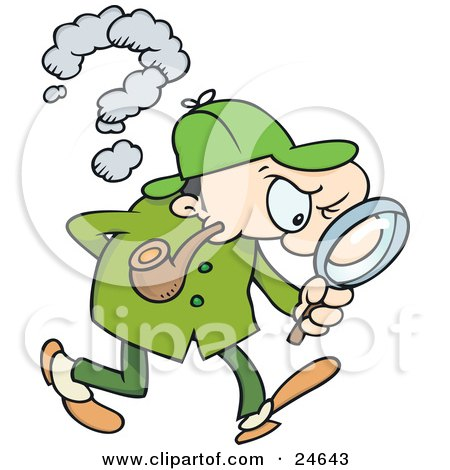 Clipart Illustration of Sherlock Holmes, A Caucasian Man In A Green Hat, Coat And Pants, Smoking A Pipe And Peering Through A Magnifying Glass While Searching For Evidence by gnurf