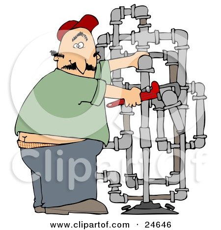 Surprised Male Plumber Turning With A Shocked Expression, Caught With His But Crack Showing While Fitting Pipes Posters, Art Prints