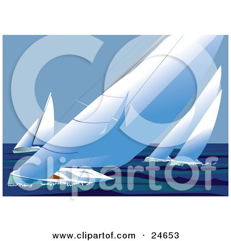Clipart Illustration of Four Racing Sailboats Out At Sea, Wind Blowing The Sails And Making The Boats Lean by Eugene