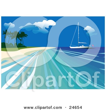 Clipart Illustration of a Yacht Out On Calm Blue Water Close To The Beach Of A Tropical Island by Eugene