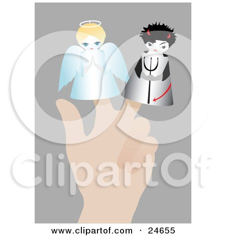 Clipart Illustration of a Person's Hand With Two Little Puppets On The Fingers, An Angel With A Halo And A Devil With A Pitchfork, Symbolizing Conscience by Eugene