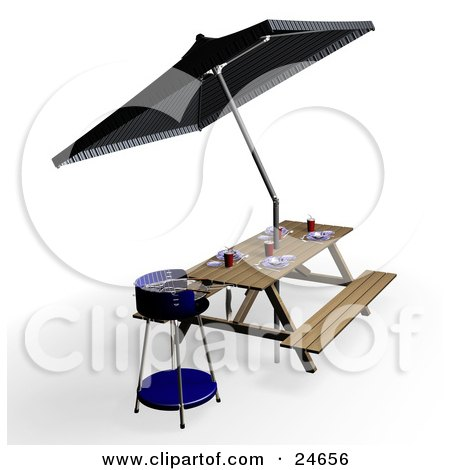 Clipart Illustration of a Blue Bbq, Picnic Table With Eating Utensils, Cups And Plates, Under An Umbrella by KJ Pargeter