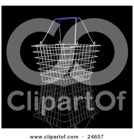 Clipart Illustration of an Empty Blue Handled Wire Shopping Basket Over A Reflective Black Surface by KJ Pargeter