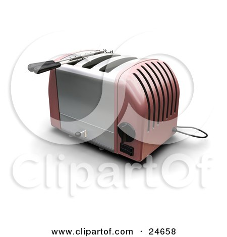 Clipart Illustration of a Pink And Silver Three Slot Toaster On A Kitchen Counter by KJ Pargeter