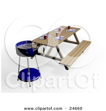 Clipart Illustration of a Set Picnic Table In A Park, By A Blue BBQ Grill by KJ Pargeter