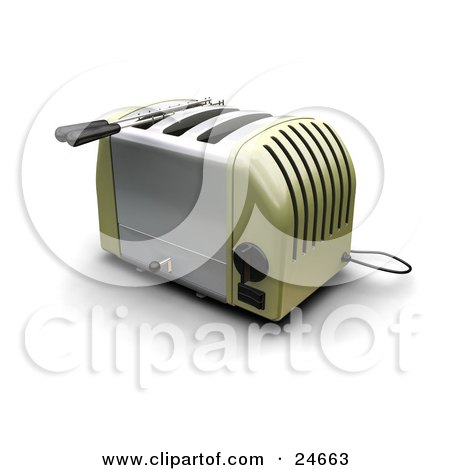 Clipart Illustration of a Green And Silver Three Slot Toaster On A Kitchen Counter by KJ Pargeter