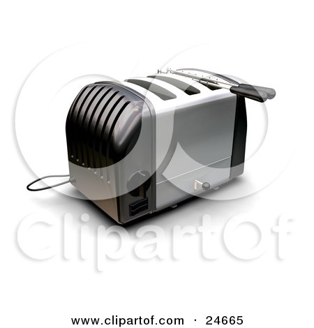 Clipart Illustration of a Black And Silver Three Slot Toaster On A Kitchen Counter by KJ Pargeter